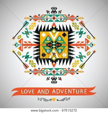 Vectorl decorative element on native ethnic style