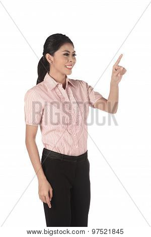 Asian Business Woman Push Something