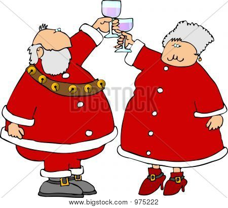 Santa & Mrs Claus Offering A Toast