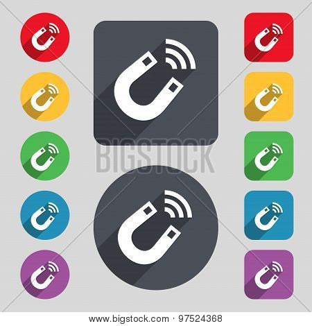 Magnet Icon Sign. A Set Of 12 Colored Buttons And A Long Shadow. Flat Design. Vector