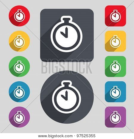 The Stopwatch Icon Sign. A Set Of 12 Colored Buttons And A Long Shadow. Flat Design. Vector