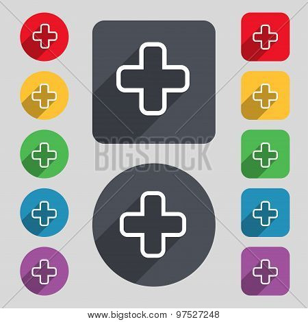 Plus Icon Sign. A Set Of 12 Colored Buttons And A Long Shadow. Flat Design. Vector