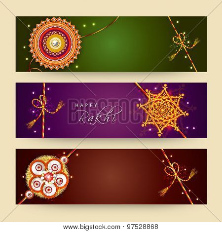 Creative website header or banner set decorated with beautiful rakhi for Indian festival of brother and sister love, Happy Raksha Bandhan celebration.