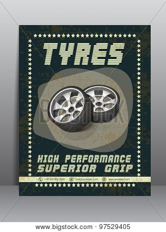 Vintage Template, Banner or Flyer of Tyres for automobile sector.