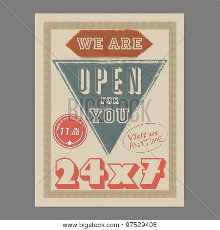 24X7 hours open, retro Help Center flyer or template design with free home delivery offer for you.