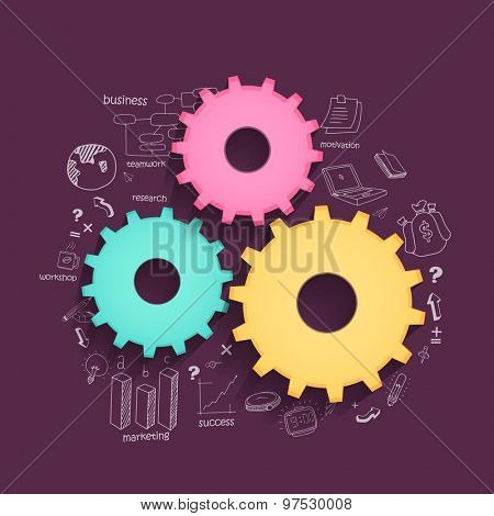 Glossy colorful cogwheels with various statistical elements on purple background for business reporta and professional presentation.