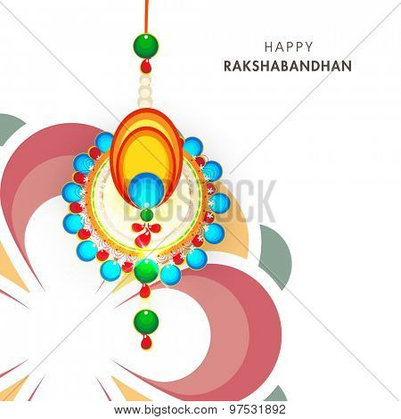 Greeting card design decorated with beautiful rakhi for Indian festival of brother and sister love, Happy Raksha Bandhan celebration.