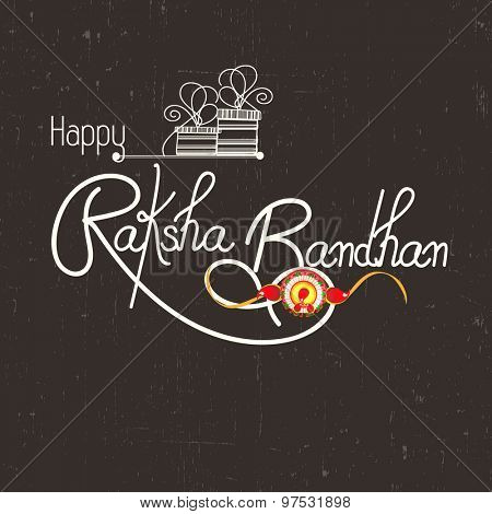 Elegant greeting card design decorated with beautiful rakhi for Indian festival of brother and sister love, Happy Raksha Bandhan celebration.