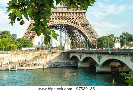 Seine River And Eiffel Tower In Paris France