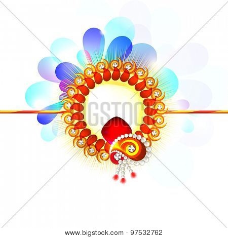 Beautiful rakhi on shiny floral design decorated background for Indian festival of brother and sister love, Happy Raksha Bandhan celebration.