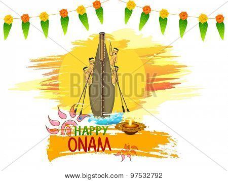Illustration of snake boat with oarsmen on traditional mango leaves and flowers decorated background for South Indian festival, Happy Onam celebration.