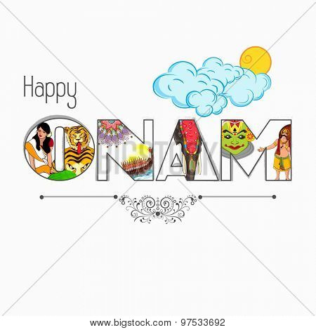 Stylish text Onam presenting South Indian culture on clouds decorated shiny background.