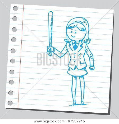 Businesswoman with baseball bat