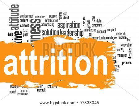 Attrition Word Cloud With Orange Banner