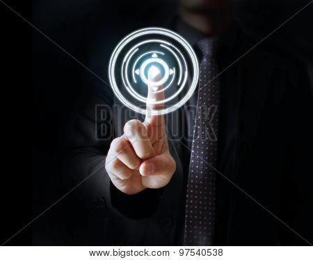 Man Hand pressing modern social buttons