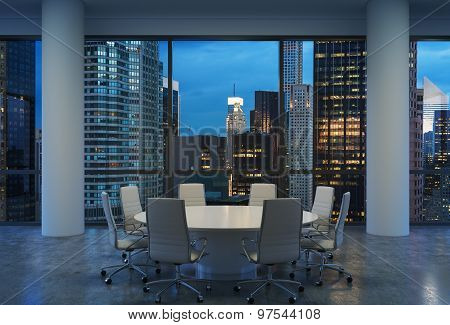 Panoramic Conference Room In Modern Office, Cityscape Of New York Skyscrapers At Night, Manhattan. W