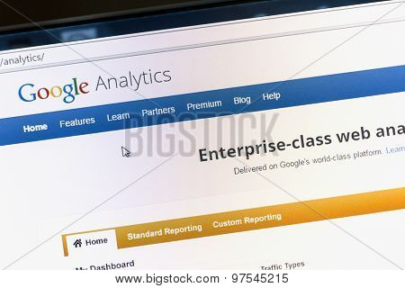 Ostersund, Sweden - August 1, 2015: Close up of Google analytics main page on a computer screen. Google Analytics is a service offered by Google that generates statistics about a website's traffic.