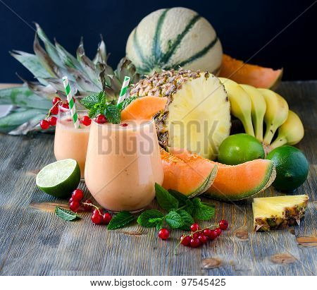 Healthy Smoothie Drink With Pineapple And Melon, Vitamin And Diet Concept