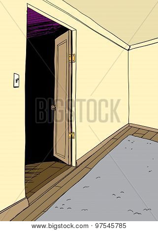 Open Door In Empty Room