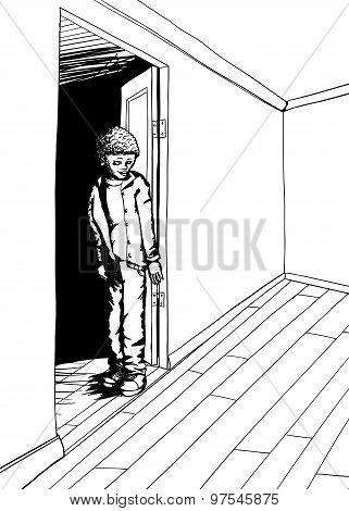 Outline Of Grinning Teen In Empty Room
