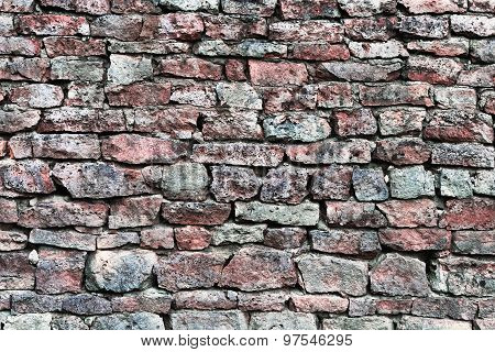 Stone Wall Closeup, Horizontal Stonewall Pattern Background, Old Aged Weathered Red And Grey Grunge