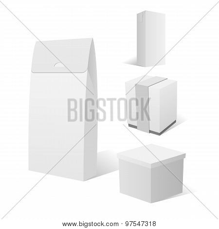 Realistic Set Of Four Empty White Cardboard Box Packages