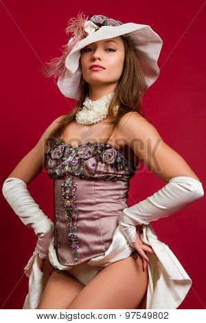 Brunette Girl In A White Hat