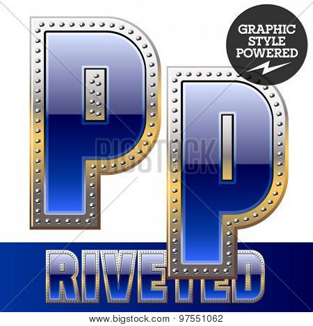 Vector set of font in blue color with riveted border. Letter P