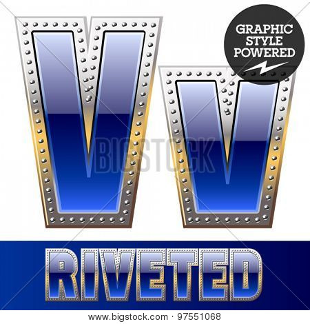 Vector set of font in blue color with riveted border. Letter V