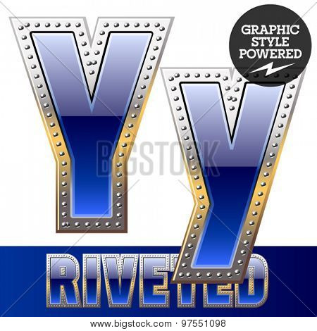 Vector set of font in blue color with riveted border. Letter Y