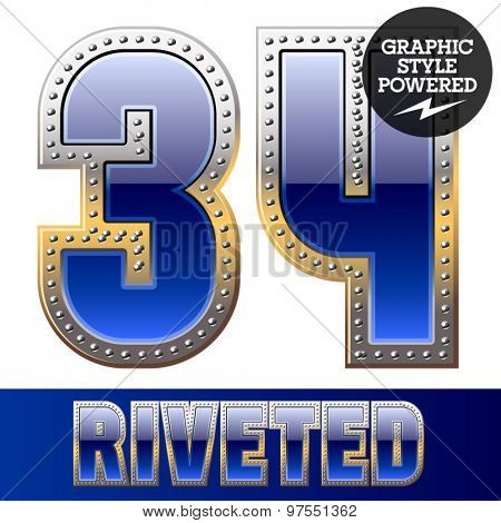 Vector set of font in blue color with riveted border. Numbers 3 4