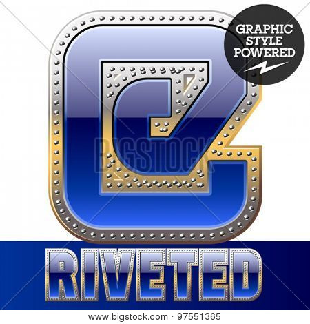 Vector set of font in blue color with riveted border. Symbols