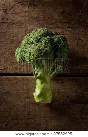 fresh broccoli on a wood background