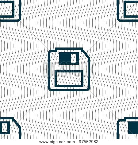 Floppy Disk Icon Sign. Seamless Pattern With Geometric Texture. Vector