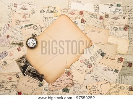 Old Paper Piece, Antique Accessories And Postcards. Sentimental Vintage