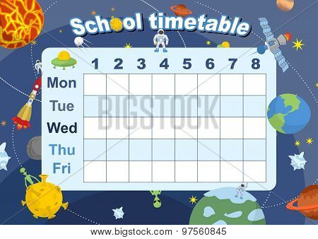Schedule. School Timetable On Theme Of Space And Galaxy. Vetkor Illustration. Days Of Week. Timetabl