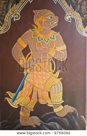 Thai Kunst Malerei an Wand im Tempel