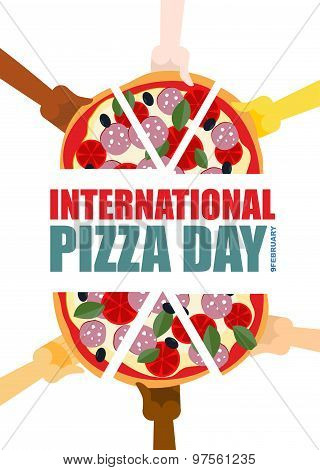 International Pizza Day. Hand Hold Pieces Of Pizza. Vector Illustration