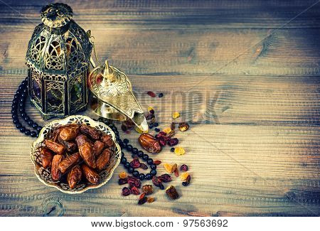 Dates, Arabic Lamps And Rosary. Islamic Holidays Vintage Decoration