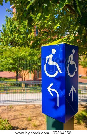 Blue Handicapped Wheel Chair Post Sign