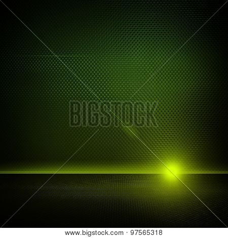 green metal interior with lighting background