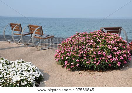 Empty benches anf flowers on lakeshore of Garda lake