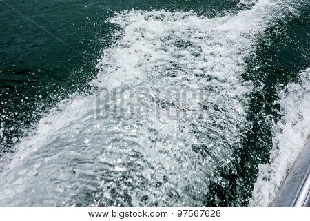 Wake Waves From Boat On Lake