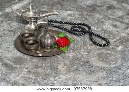 Moroccan Coffee, Rose Flower, Arabian Lantern, Rosary. Islamic Holidays Decoration