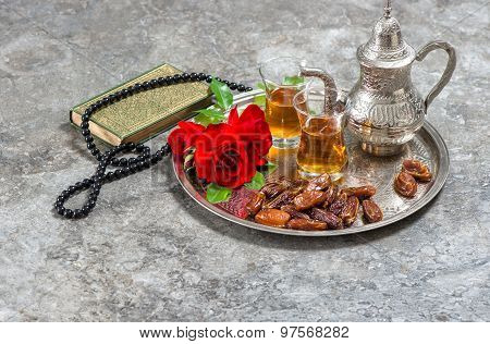 Tea And Red Rose Flower, Holy Book Quran And Rosary. Islamic Holidays. Ramadan