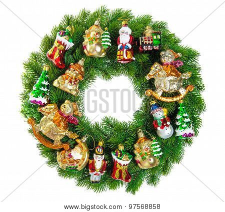 Christmas Wreath Decorated With Ornaments, Baubles And Vintage Toys