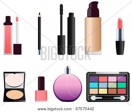 Set of cosmetics for makeup. Lipstick and eye shadow. Vector illustration