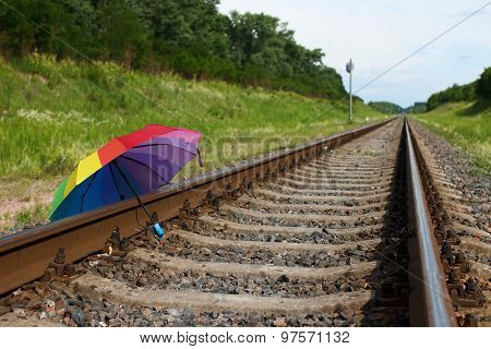 Colorful Umbrella Is On The Rails