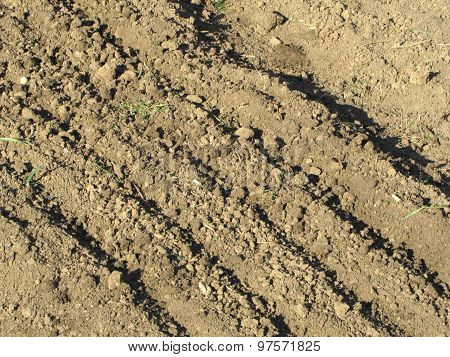 Photo Of Furrow Made By Plough In Dusty Field