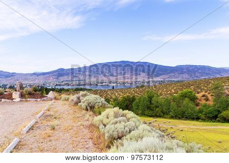 Landscape with mountains and lake